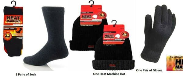Mens Thermal Socks Gloves Hat set Heat Machine Winter Black Christmas Gift 3 Pcs - 164501531047